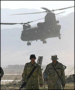 US helicopter at Bagram airbase