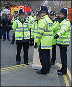 police officers at the NUT teachers' march