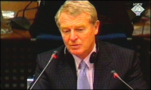Paddy Ashdown giving evidence at The Hague