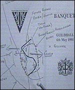 Banquet menu with alleged map of carve-up of Bosnia