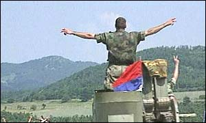 Yugoslav tank leaves Kosovo