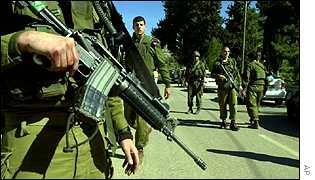 Israeli soldiers on patrol.
