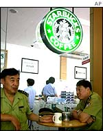 Chinese police drink coffee in Starbucks