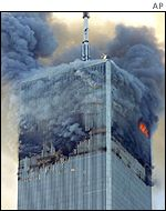 One tower of the World Trade Center burns
