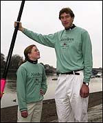 Cambridge's Eleanor Griggs and Josh West - the shortest and tallest competitors in the 2002 Boat Race