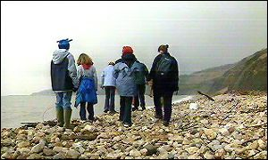 Fossil hunters, Charmouth