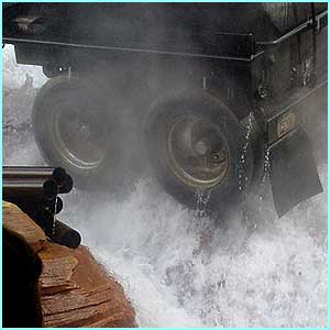 Then there's a massive rush of water, which puts out the fire, but cascades towards you in the tram!