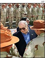 Dick Cheney with National Guard troops in Egypt