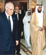 US Vice President Dick Cheney, left, is welcomed by the Crown Prince of Abu Dhabi Sheikh Khalifa bin Zayed