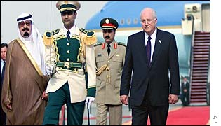 Crown Prince Abdullah, left, walks with Cheney during a welcoming ceremony in Jeddah