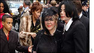 Michael Jackson and Elizabeth Taylor arrive