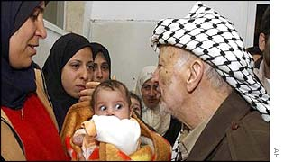 Palestinian leader Yasser Arafat kisses a Palestinian child during a visit to homes damaged by Israeli army raids
