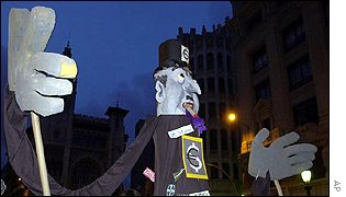 Giant puppet representing the euro