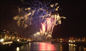 A huge firework display lit up Dublin city centre