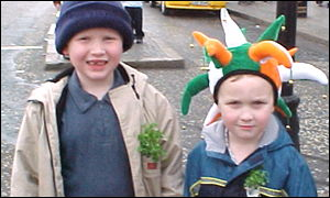 Mathew and Ben Carlin were decked out for St Patrick's Day in Belfast