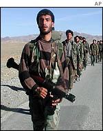 Afghan troops near Gardez