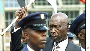 President Daniel Arap Moi saluting the Guard of Honour