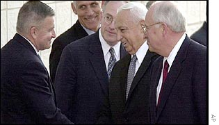 Anthony Zinni (left), Ariel Sharon (second right), Dick Cheney (right)