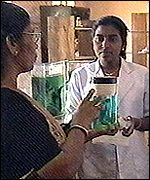 Ayurvedic herbs being processed in an Indian laboratory
