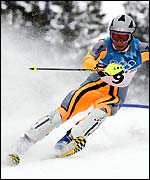 Raich finished fourth in the Olympic slalom