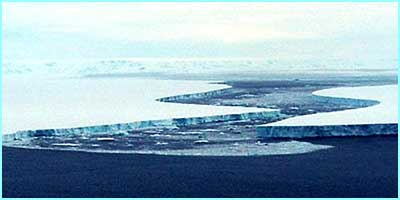 The Larsen B ice shelf photographed from an airplane. The shelf has fallen off the main land mass of the Antarctic Peninsula