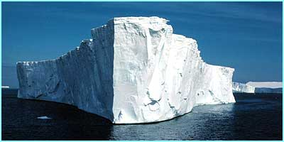 This is a typical 'tabular' Iceberg in the Antarctica