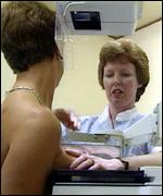 Women undergo breast screening to check for tumours