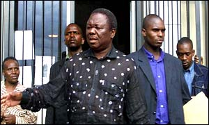 Opposition leader Morgan Tsvangirai outside the court in Harare