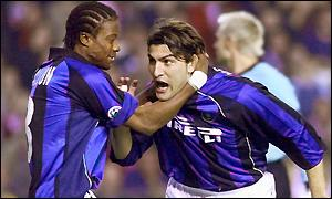 Nicola Ventola celebrates his goal with Mohammed Kallon (left)