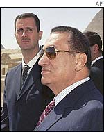 Syrian President Bashar al-Assad (left) and Egyptian President Hosni Mubarak
