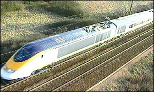 Eurostar train on Channel Tunnel rail link
