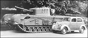Vauxhall car with Churchill tank