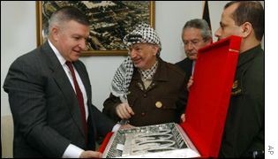 Zinni and Arafat at his West Bank office in Ramallah on 19 March