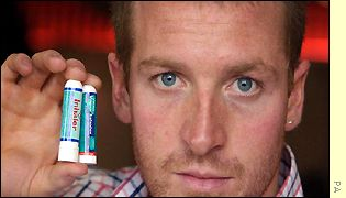 Baxter with the British and US version of the Vicks inhalers