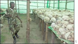 Skulls on the massacred Rwandans