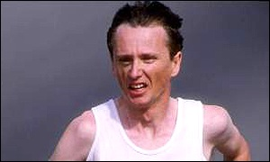 John Treacy during his silver medal run in the Los Angles Olympic marathon