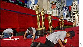 Last minute preparations make the Kodak Theater a hive of activity