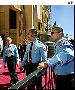 Police outside the Kodak Theatre