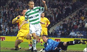 Henrik Larsson opens the scoring for Celtic