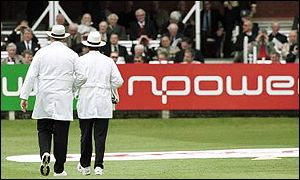 Two umpires at a Test in England