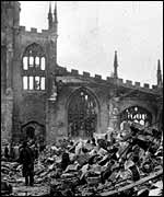 Coventry Cathedral in ruins