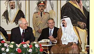 Crown Prince Abdullah (right) and US Vice President Dick Cheyney