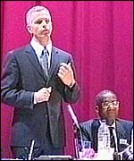 Brian Paddick at the meeting in Brixton, alongside him is Detective Chief Inspector David Michael