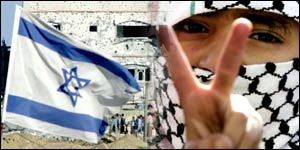 Composite photo: Israeli flag and Palestinian boy showing victory sign