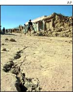 Cracked road in Afghan village