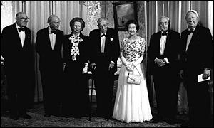 Lord Callaghan with the Queen and five former Prime Ministers.