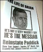 A poster demanding Brian Paddick's reinstatement