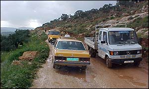 Palestinian traffic in the hills around Nablus