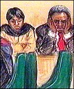 Court artist's impression of Damilola's parents in court