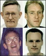 [ image: Kidnapped engineers:  Stanley Shaw (top left), Rudolf Petschi (top right), Darren Hickey (bottom right),  and Peter Kennedy]